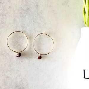 Raw Ruby Gold Hoop Earrings 22K Gold plated